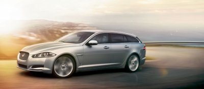 A Jaguar XF Sportbrake drives.