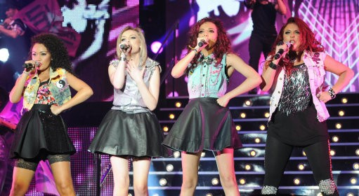 Little Mix, (left to right) Leigh-Anne Pinnock, Perrie Edwards Jade Thirlwall and Jesy Nelson, perform during the X Factor Live Tour at Wembley Arena, London.