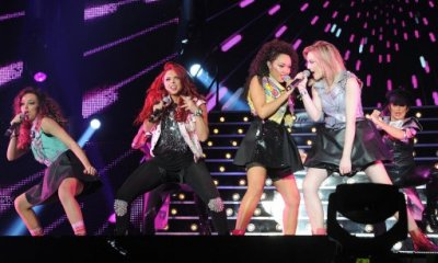 Little Mix, left to right Leigh-Anne Pinnock, Perrie Edwards Jade Thirlwall and Jesy Nelson, perform during the X Factor Live Tour at Wembley Arena, London.