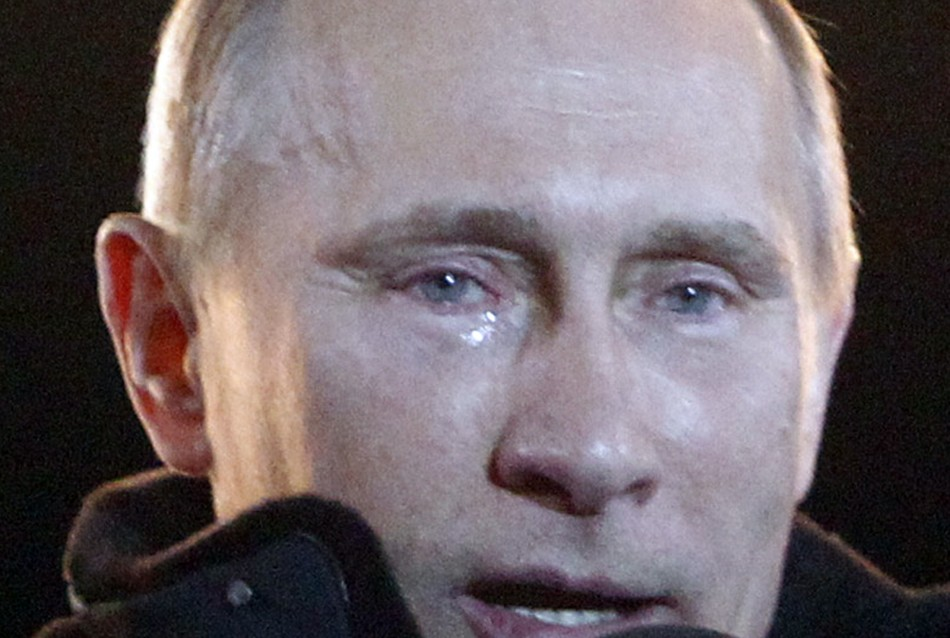 Russia's current Prime Minister and presidential candidate Vladimir Putin has tears in his eyes