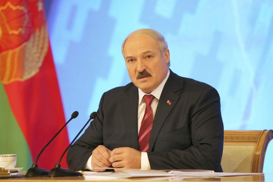 Belarussian President Lukashenko speaks during a news conference in Minsk