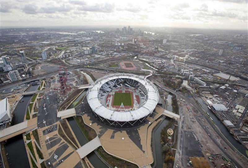An aerial view shows a section of the London 2012 Olympic Games Olympic Stadium, at the Olympic Park in London