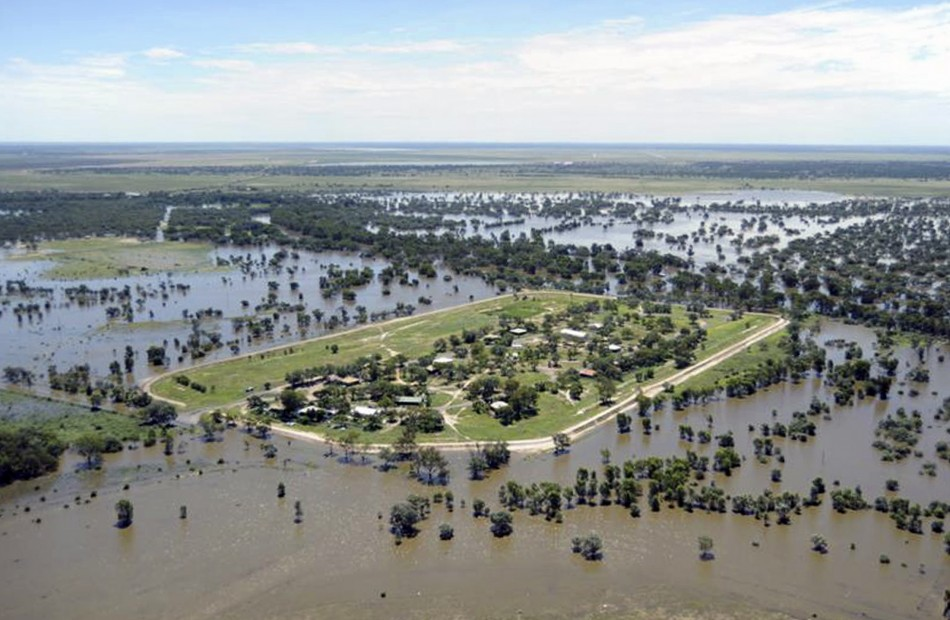 Handout photo of flood waters surrounding Alice Edwards Village on the western fringe of the Australian outback town of Bourke