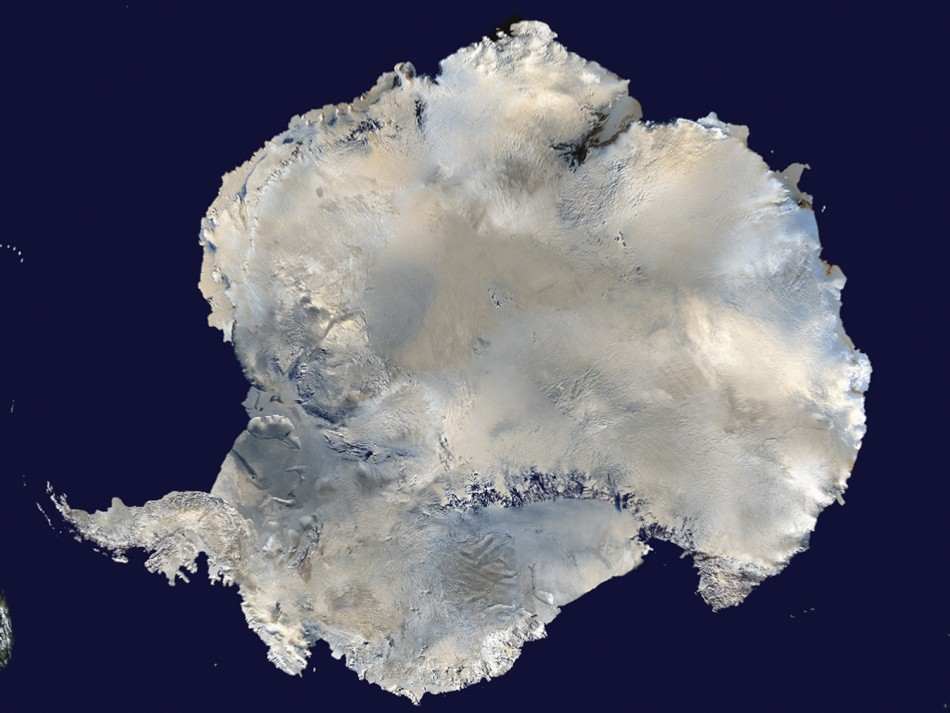 Satellite view of Antarctica