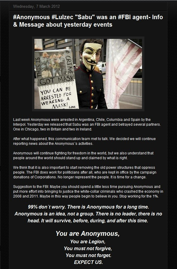 Anonymous Promise to Fight on Post Sabu Betrayal