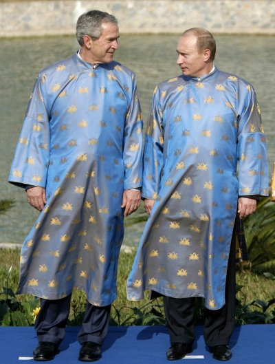 George W Bush and Vladimir Putin