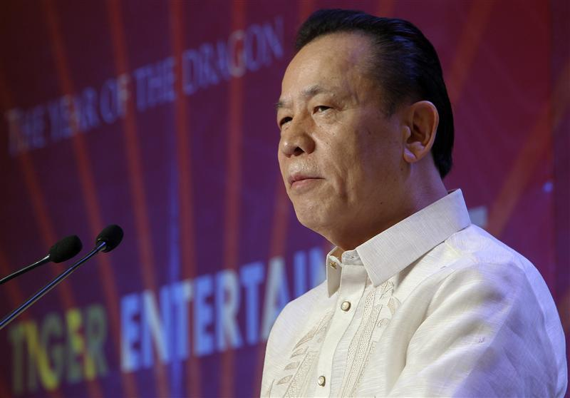 Kazuo Okada, chairman of Universal Entertainment Corp, speaks during the ground-breaking ceremony of its casino-hotel projects in Manila