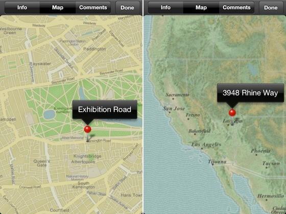 iPhoto maps