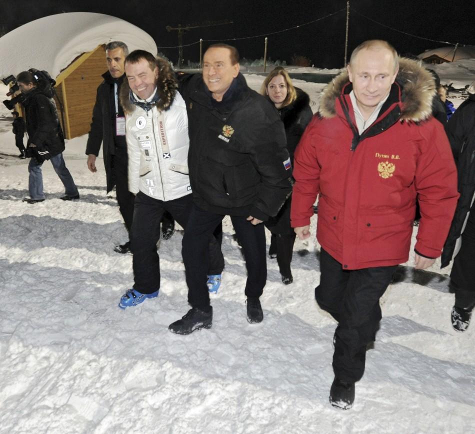 Putin, Medvedev and Berlusconi