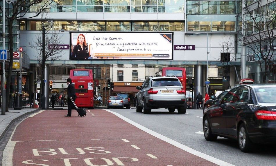 Billboard in Holborn calling for David Cameron to drop NHS reforms
