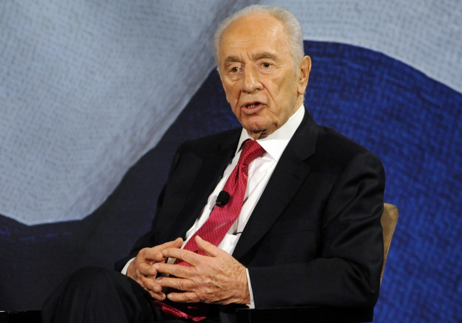 Israel's President, Shimon Peres speaks in an interview during an address to the Jewish community of Los Angeles