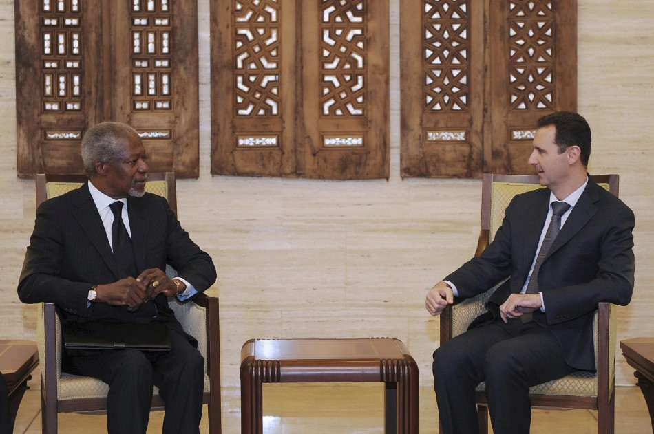Syria's President Bashar al-Assad and UN-Arab League envoy Kofi Annan in Damascus