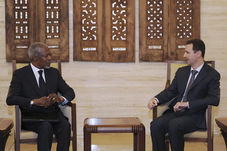 Syria's President Bashar al-Assad and UN-Arab League envoy Kofi Annan in Damascus