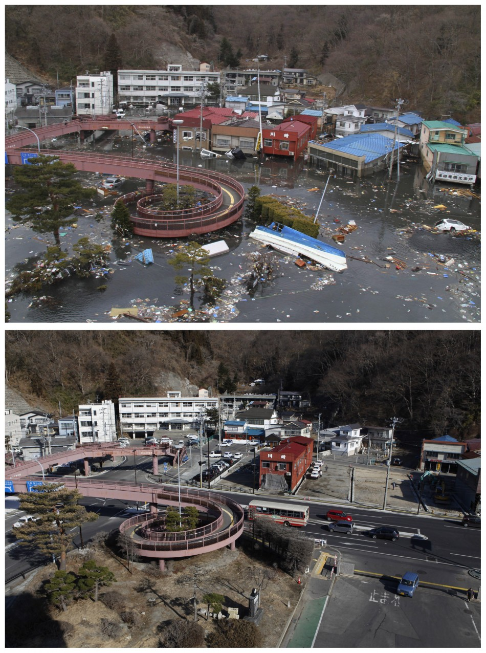 A combination photograph shows the same location on two different dates in Miyako, Iwate Prefecture, northeastern Japan