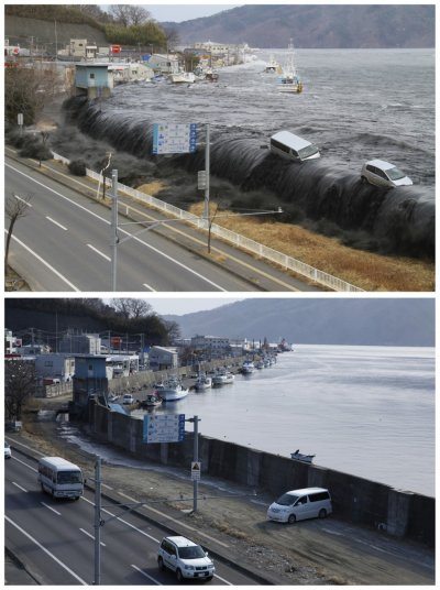A combination photograph show the same location on two different dates in Miyako, Iwate Prefecture, northeastern Japan