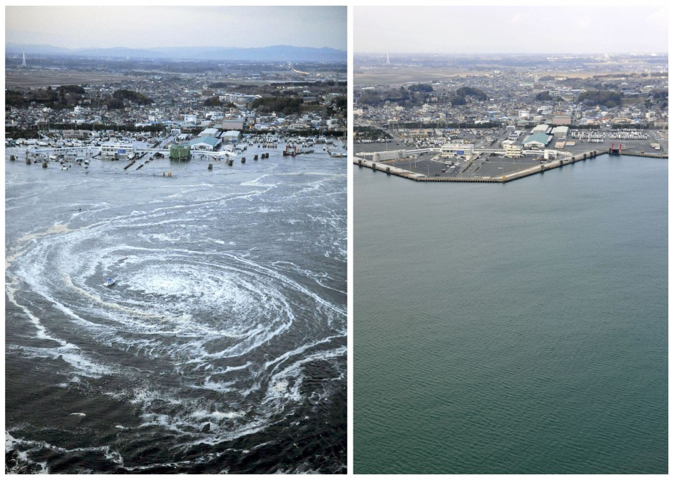 Combo photo shows a whirlpool caused by a tsunami near Oarai City, Ibaraki, and the same area almost a year later