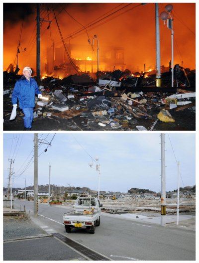 Combo photo shows the tsunami and earthquake-hit Iwaki city in Fukushima prefecture