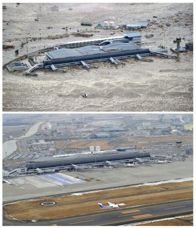 Combo photo shows the tsunami-devastated Sendai airport, Miyagi prefecture
