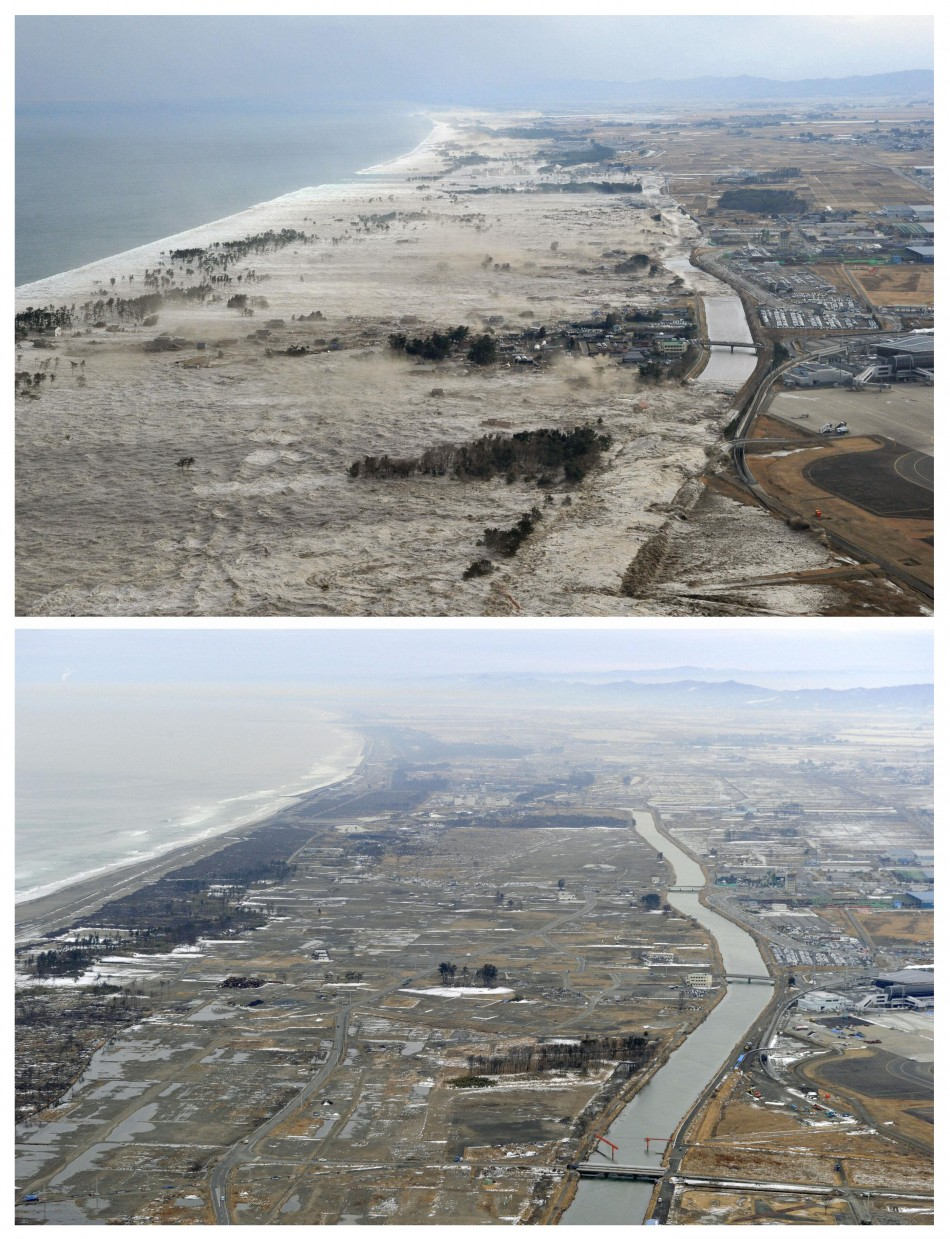 Combino photo shows the tsunami-devastated Iwanuma city, Miyagi prefecture