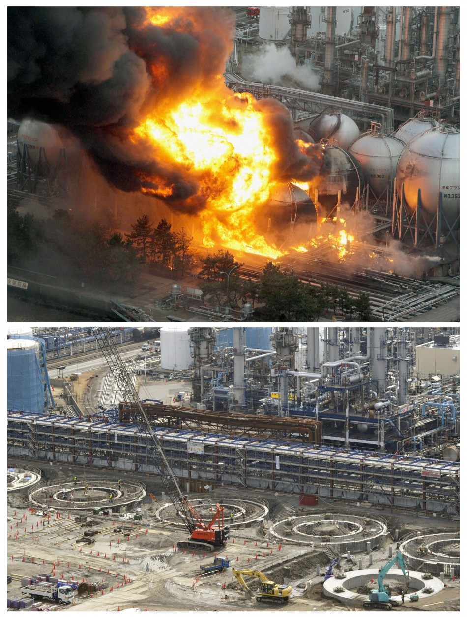 Combo photo shows aerial views of natural gas storage tanks burning at the Cosmo oil refinery in Ichihara, Chiba Prefecture, and the same area almost a year later