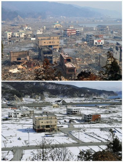 Combo photo shows the tsunami-devastated Otsuchi town in Iwate prefecture