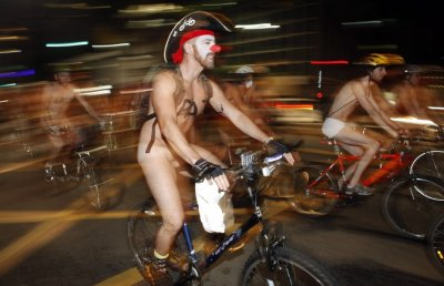 Cyclists take part in the quotWorld Naked Bike Ridequot on Sao Paulo039s Paulista Avenue