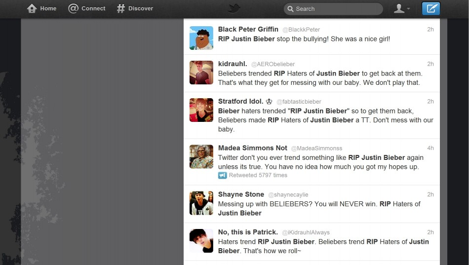 RIP Justin Bieber - Twitter Death Hoax