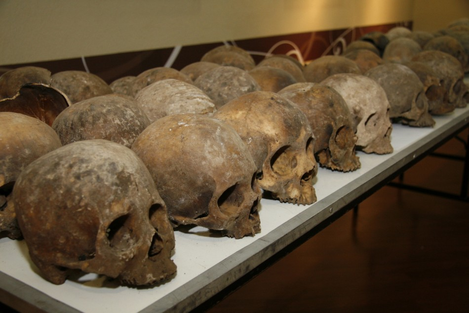 Handout shows some of the skulls discovered in a mass grave in southern Mexico