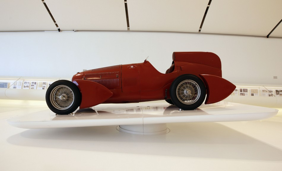 A 1935 Alfa Romeo Bimotore is pictured at the Casa Enzo Ferrari museum during a media preview in Modena