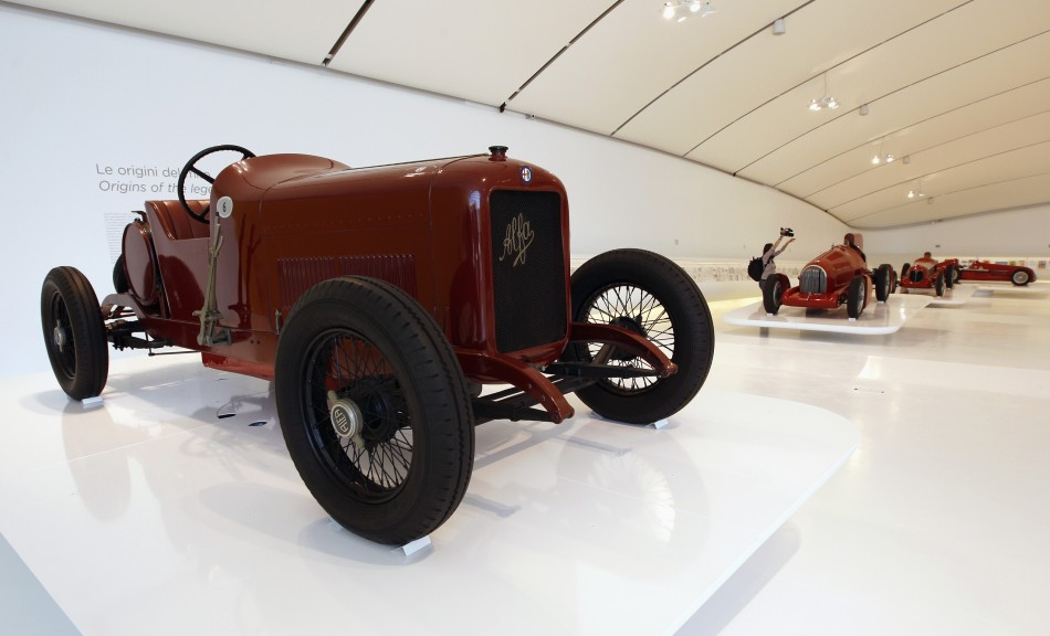 A 1913 Alfa Romeo 40-60 is pictured at the Casa Enzo Ferrari museum during a media preview in Modena