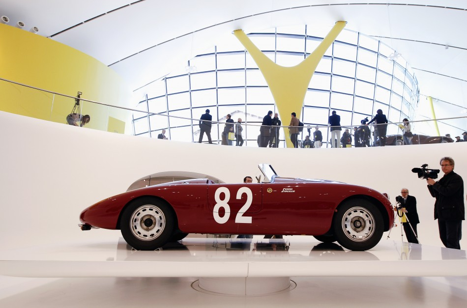 A Stanguellini 1100 Barchetta Ala d'Oro is pictured at the Casa Enzo Ferrari museum during a media preview in Modena