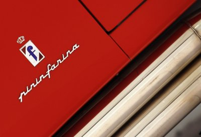 A Pininfarina logo is pictured at the Casa Enzo Ferrari museum during a media preview in Modena