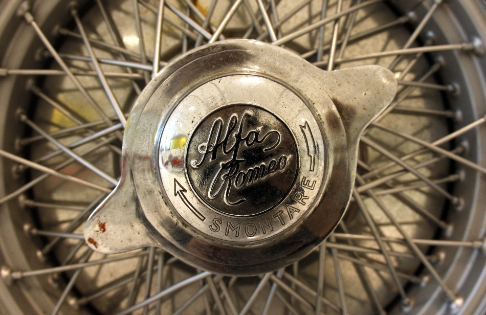 A rim of Alfa Romeo typo C is pictured at the Casa Enzo Ferrari museum during a media preview in Modena