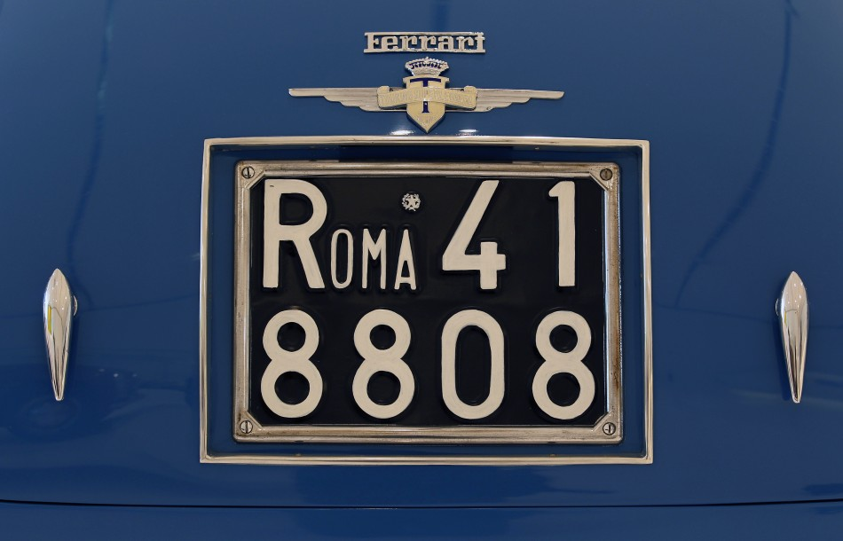 The license plate of a 1949 Ferrari 166 is pictured at the Casa Enzo Ferrari museum during a media preview in Modena