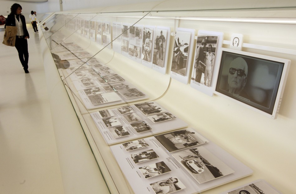 A monitor shows a picture af Enzo Ferrari at the Casa Enzo Ferrari museum during a media preview in Modena