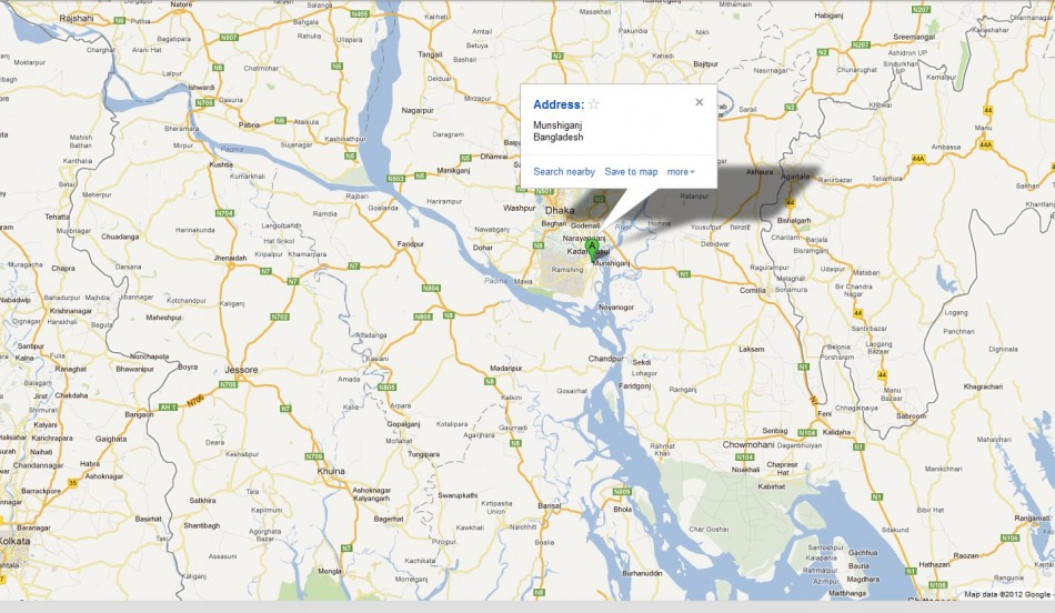 Location of the latest ferry mishap in Bangladesh