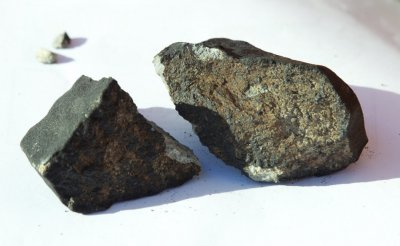 Meteorite that hit the roof of a cottage house is pictured in central Oslo