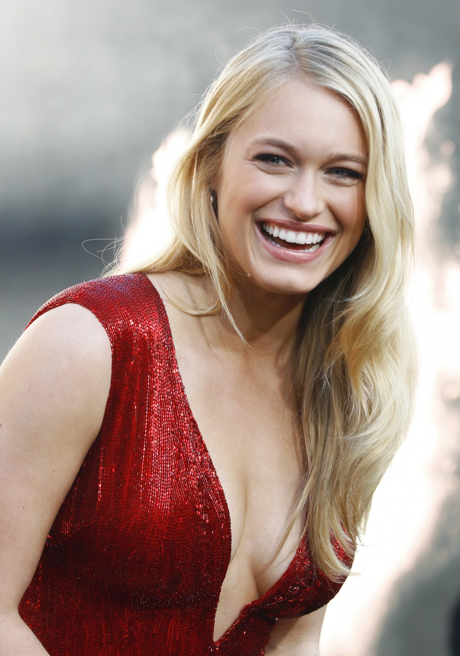"Cast member Leven Rambin poses at the premiere of ""The Hunger Games"" in Los Angeles"