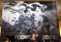 "A banner promoting the ""Battle of Angiari"" project is seen before a news conference in Florence"