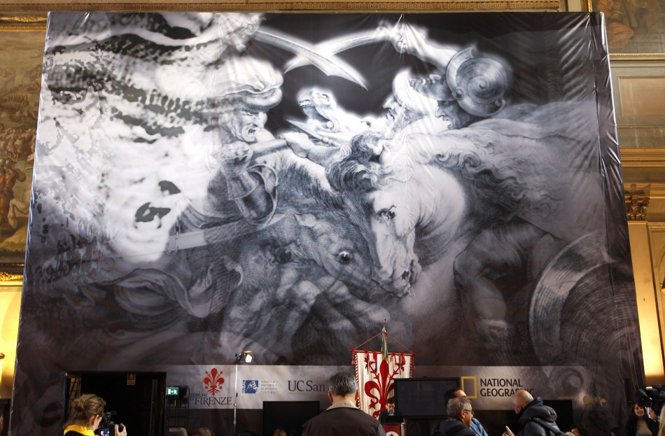 """A banner promoting the """"Battle of Angiari"""" project is seen before a news conference in Florence"""
