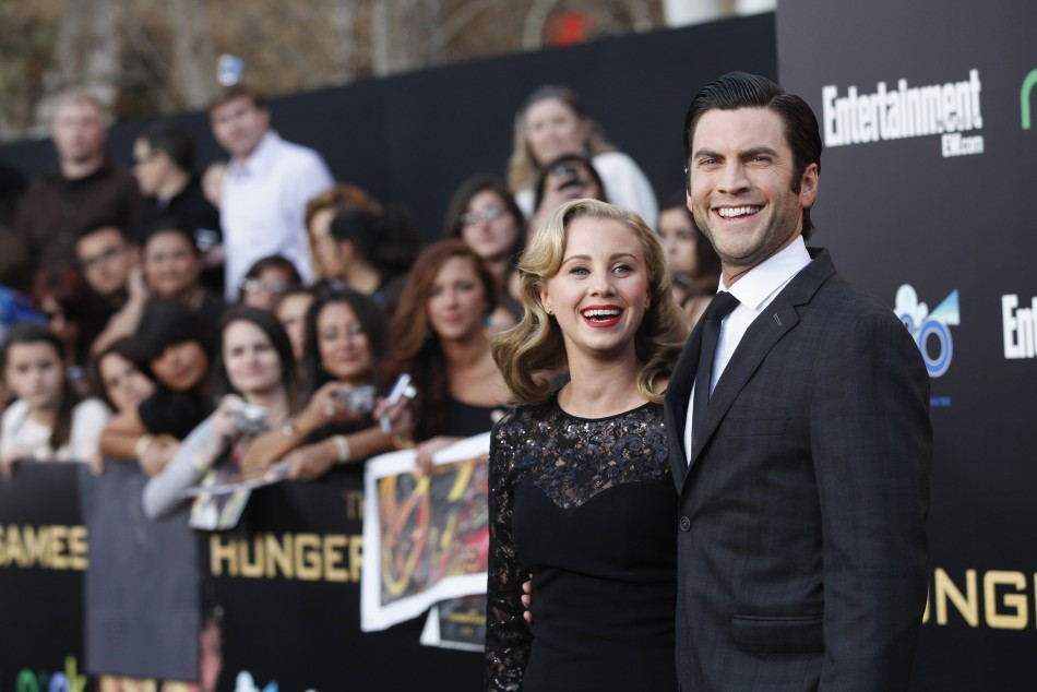 "Cast member Wes Bentley and his wife Jacqui pose at the premiere of ""The Hunger Games"" at Nokia theatre in Los Angeles"