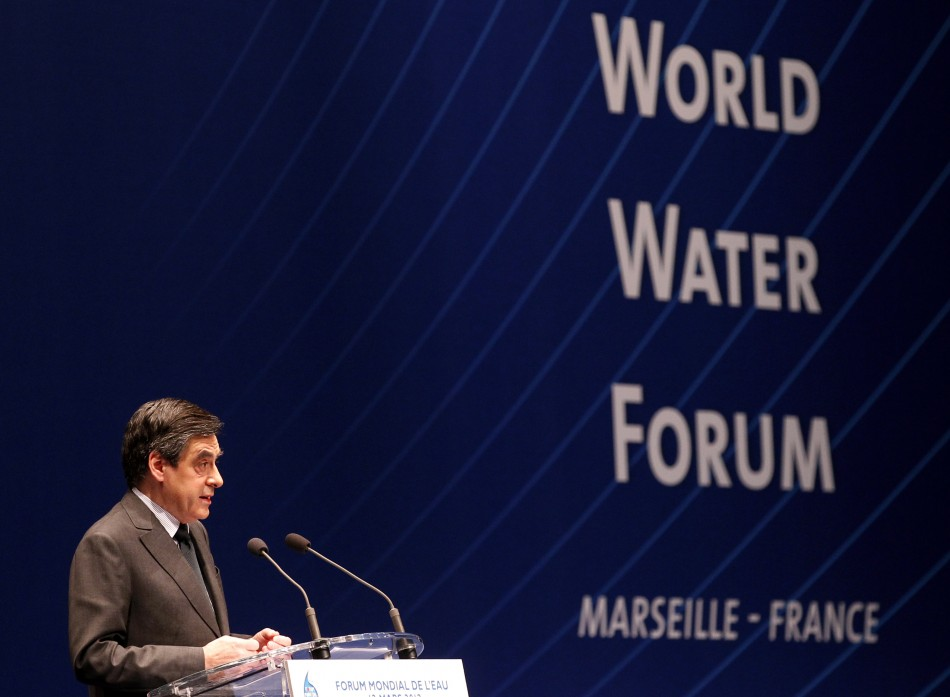 France's Prime Minister Fillon delivers a speech during the 6th World Water Forum in Marseille
