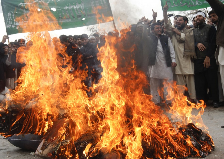 Afghan protesters shout anti-U.S. slogans during a demonstration in Jalalabad province