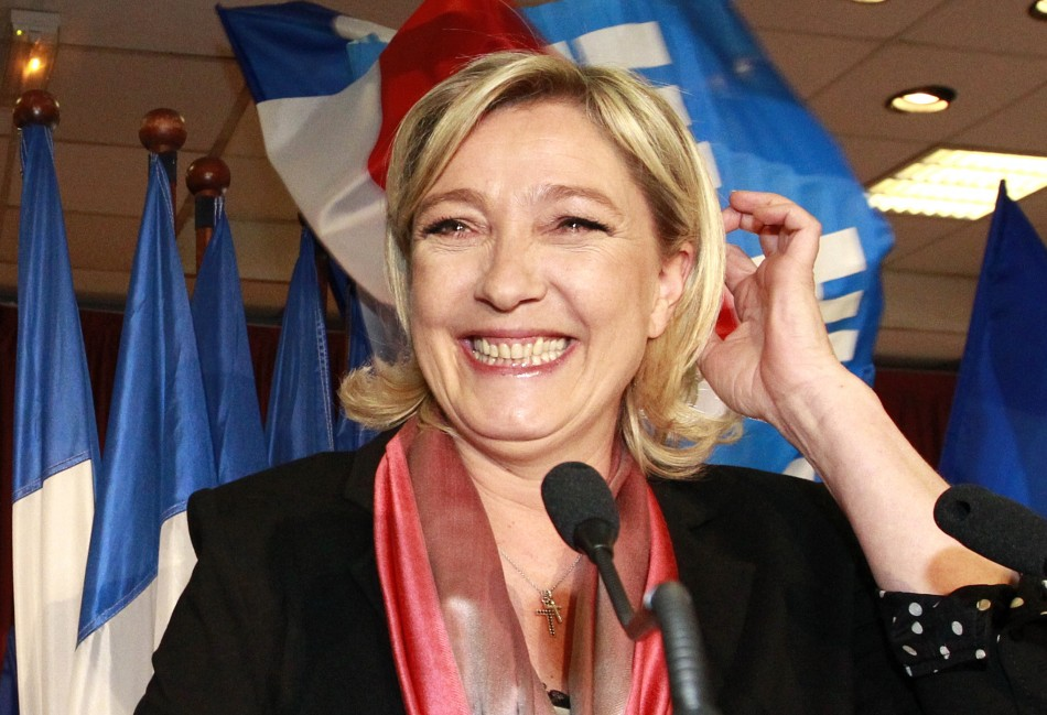 France's National Front leader Marine Le Pen addresses supporters in Henin-Beaumont in northern France