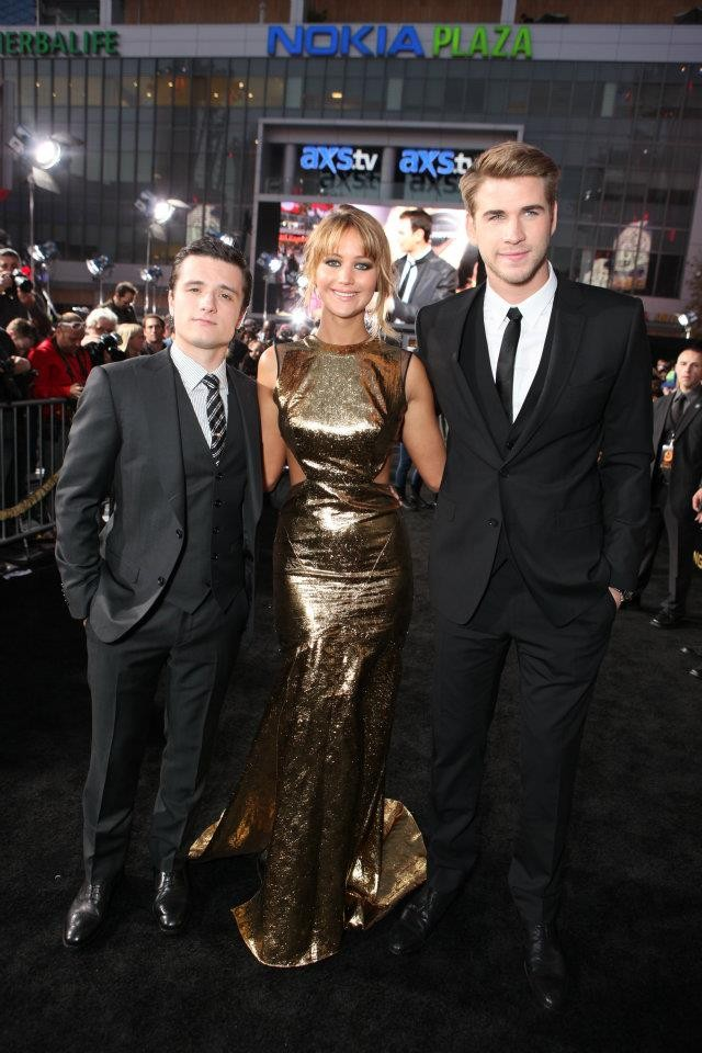 Josh Hutcherson, Jennifer Lawrence & Liam Hemsworth at The Hunger Games World Premiere at Nokia Theater L.A Live