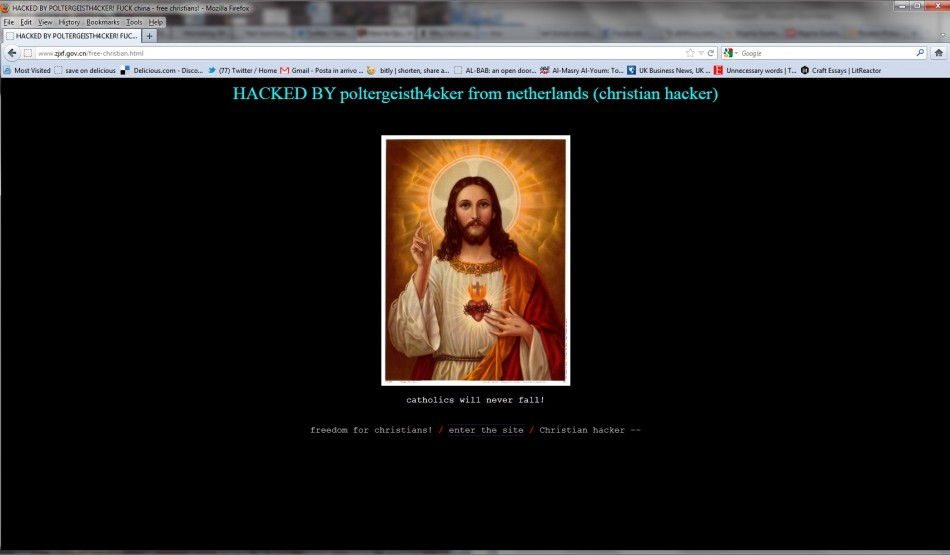 A defaced website carries the Christian message by a Dutch hacker