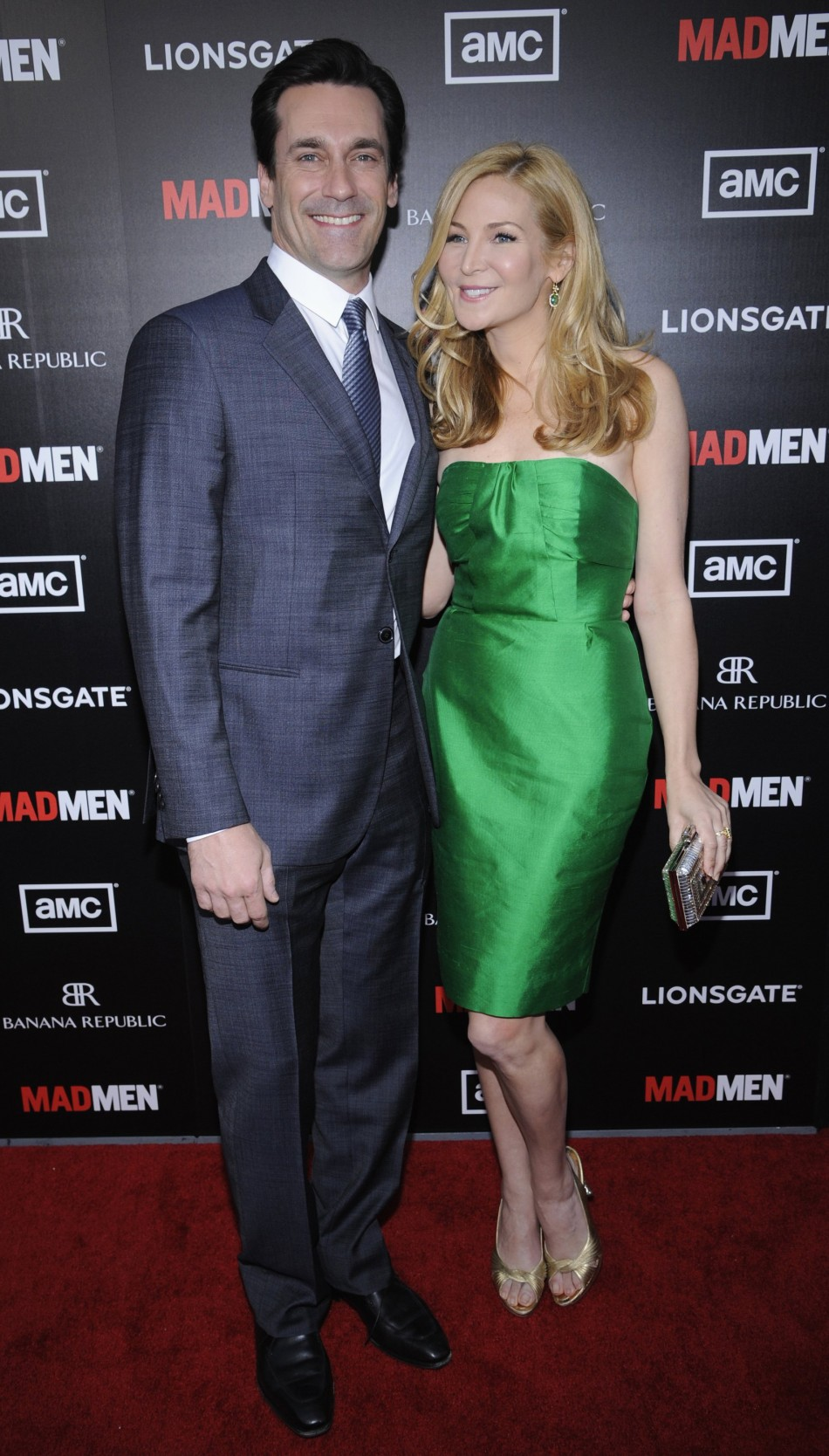 Cast member Hamm and actress Westfeldt attend a premiere screening of quotMad Menquot in Los Angeles