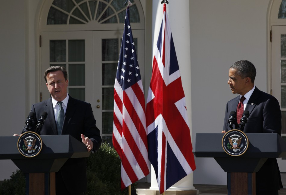 U.S. President Obama and British Prime Minister Cameron hold a joint press conference in the Rose Garden of the White House in Washington