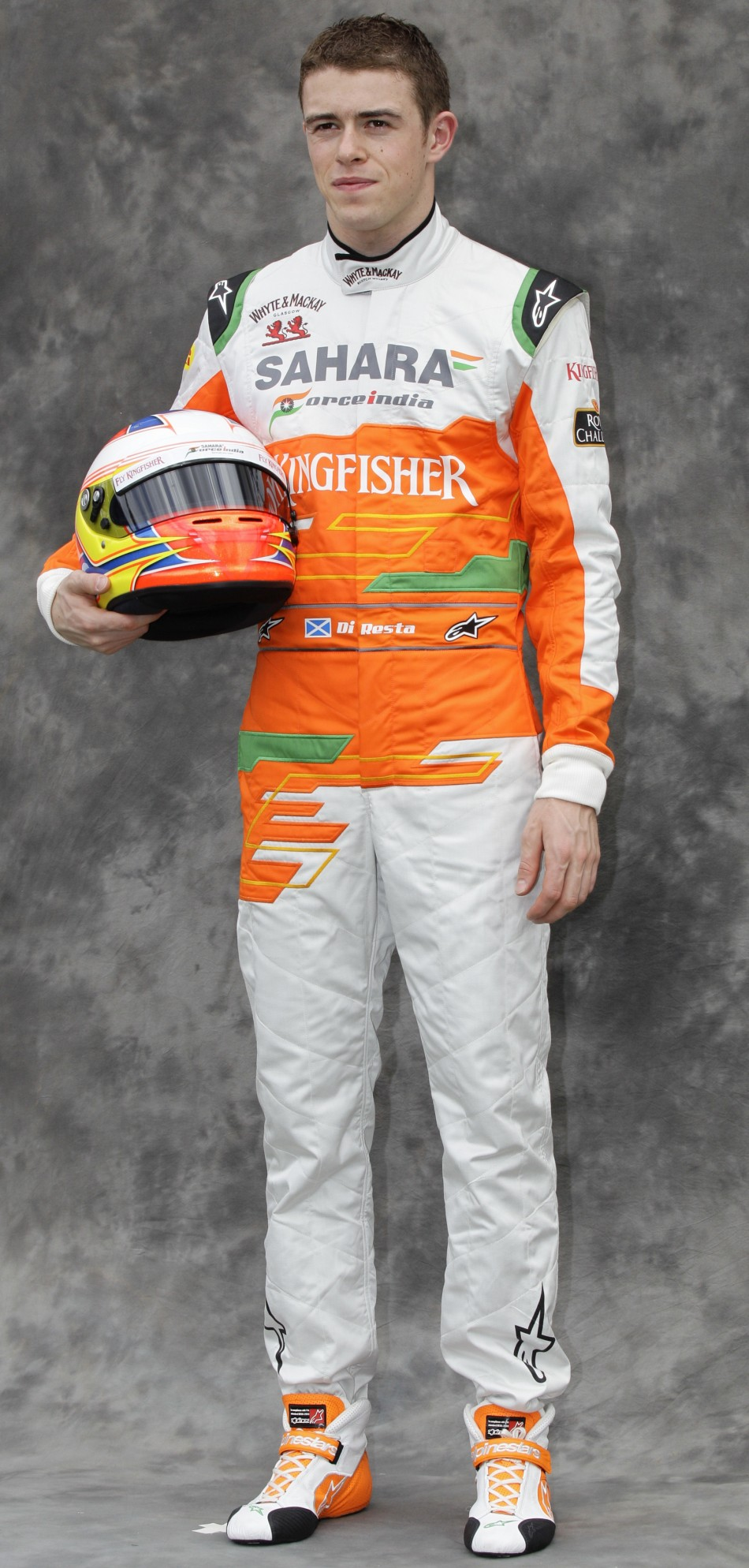Force India Formula One driver di Resta poses prior to the Australian F1 Grand Prix at the Albert Park circuit in Melbourne