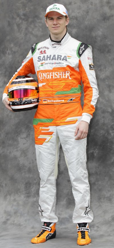 Force India Formula One driver Hulkenberg poses prior to the Australian F1 Grand Prix at the Albert Park circuit in Melbourne
